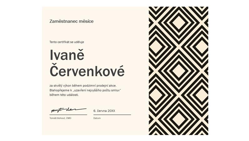 Certifikát pro zaměstnance měsíce (modrý design s motivem řetězu)