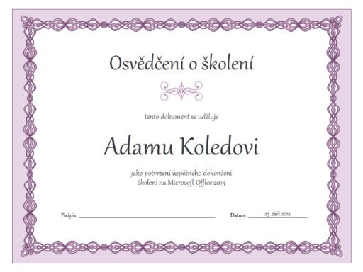 Osvědčení o školení (fialový design s motivem řetězu)