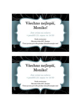 Pozvánka na večírek (design s modrou stuhou, 2 na stránku)