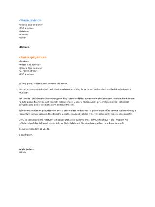 Průvodní dopis k funkčnímu životopisu (patří k funkčnímu životopisu)