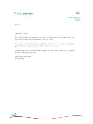 Hlavičkový papír osobního dopisu