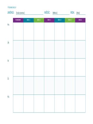 Seznam týdenních úkolů