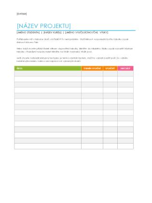 Seznam zadaných úkolů