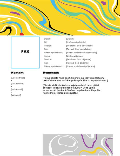Titulní stránka faxu barevný vír