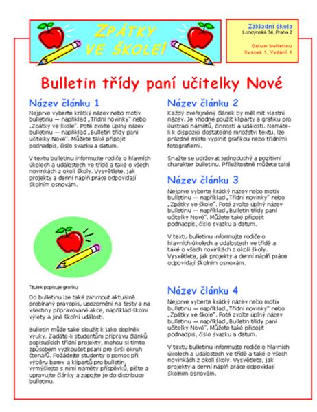 Bulletin třídy (2 sloupce, 2 listy)