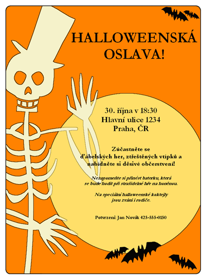 Pozvánka na oslavu Halloweenu