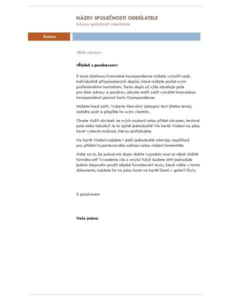 Hromadná korespondence – dopis (motiv Medián)