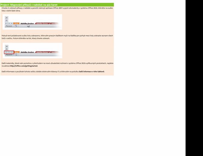 Project 2010: Sešit s mapováním příkazů z nabídek na pás karet
