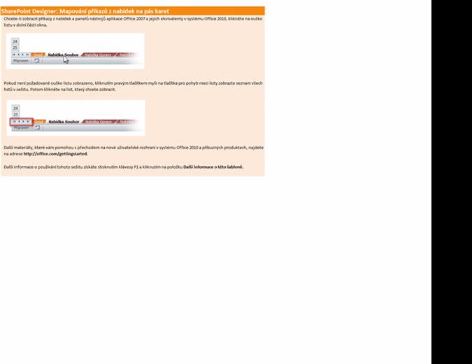 SharePoint Designer 2010: Sešit s mapováním příkazů z nabídek na pás karet