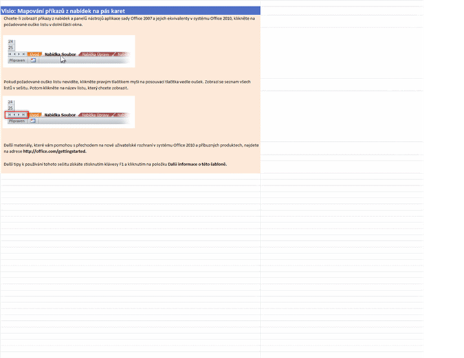 Visio 2010: Sešit s mapováním příkazů z nabídek na pás karet