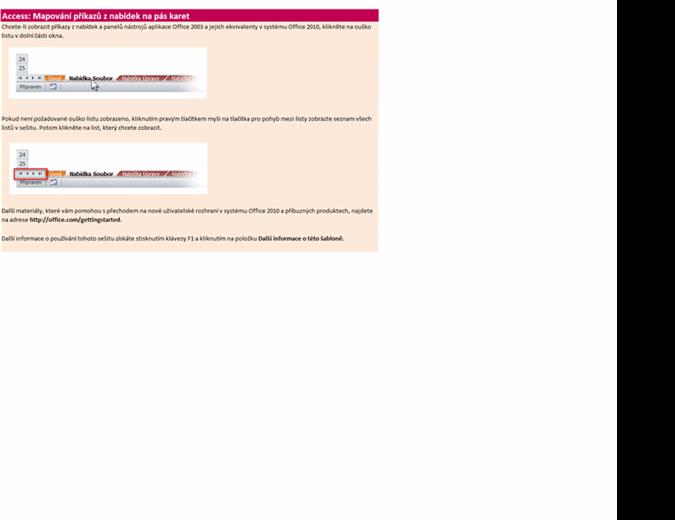 Access 2010: Sešit s mapováním příkazů z nabídek na pás karet