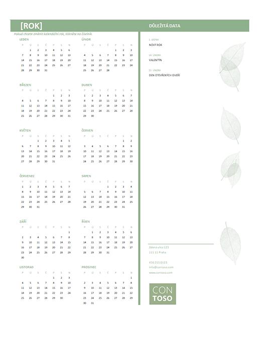 Malý firemní kalendář (libovolný rok, pondělí–neděle)