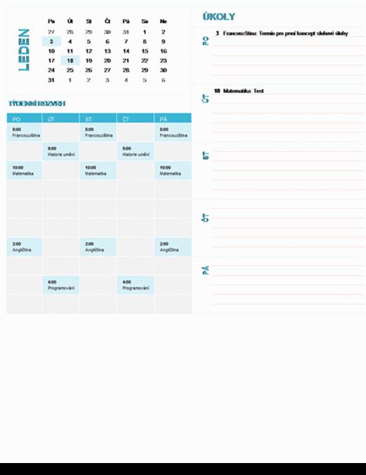 Studentský týdenní plánovací kalendář (libovolný rok, po–ne)
