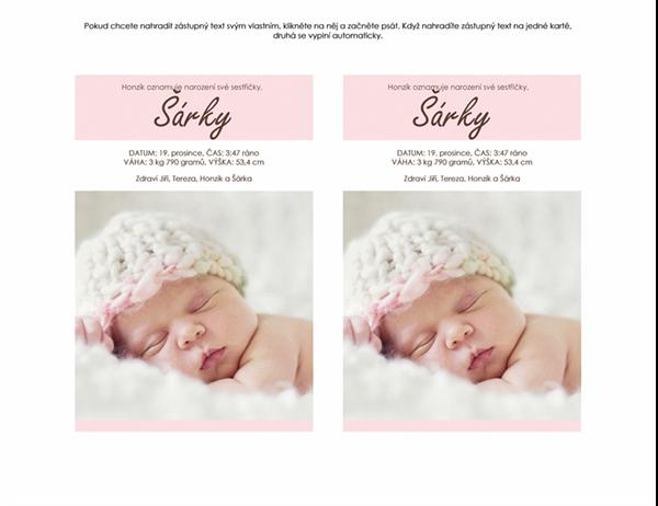 Oznámení narození holčičky