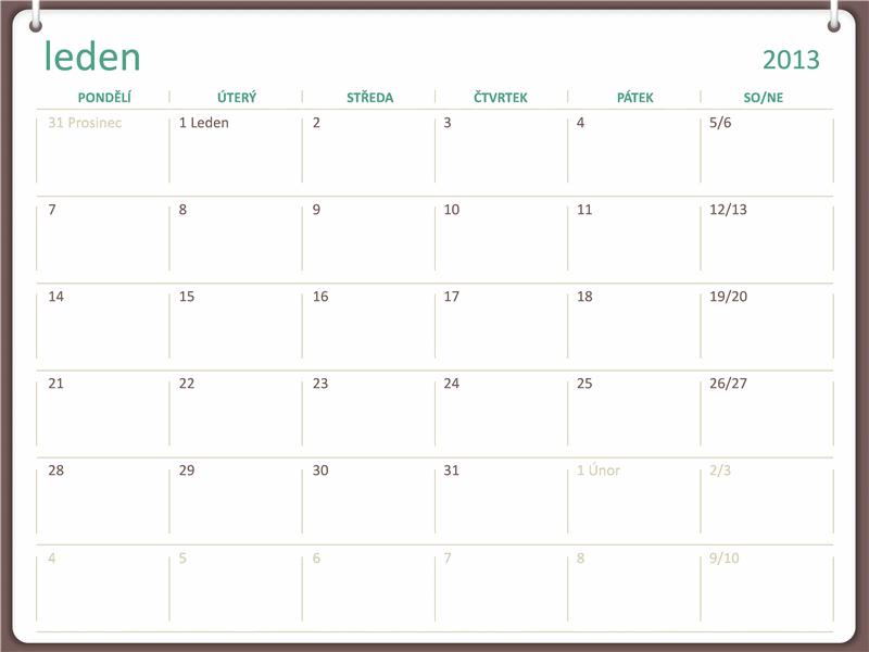 Kalendář na rok2013 – návrh se dvěma kroužky na zavěšení (pondělí–neděle)