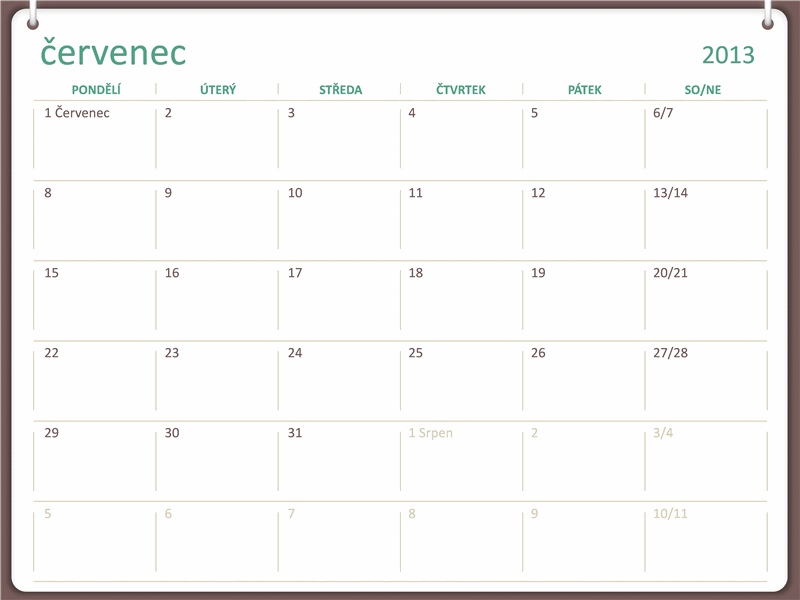 Kalendář na školní rok 2013–2014 (červenec)