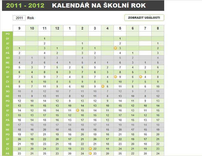 Plánovací kalendář na školní rok