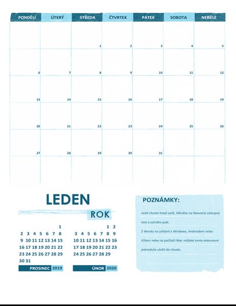 Školní kalendář po-ne (libovolný rok)