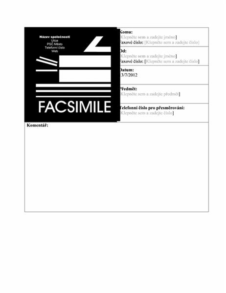 Titulní stránka obchodního faxu