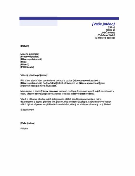 Dopis oznamující hledání pracovního místa (motiv Modrá linka)