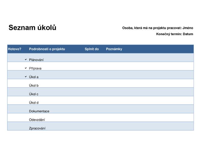 Seznam úkolů pro projekty