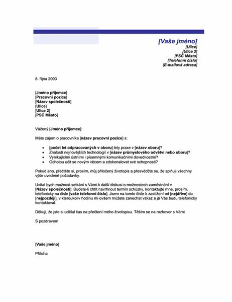 Průvodní dopis k nevyžádanému životopisu (motiv Modrá linka)