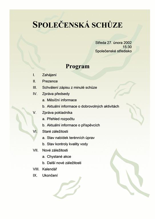 Program společenské schůze