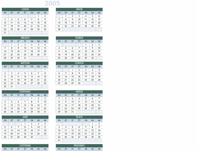 Roční kalendář 2005–2014 (pondělí–neděle)