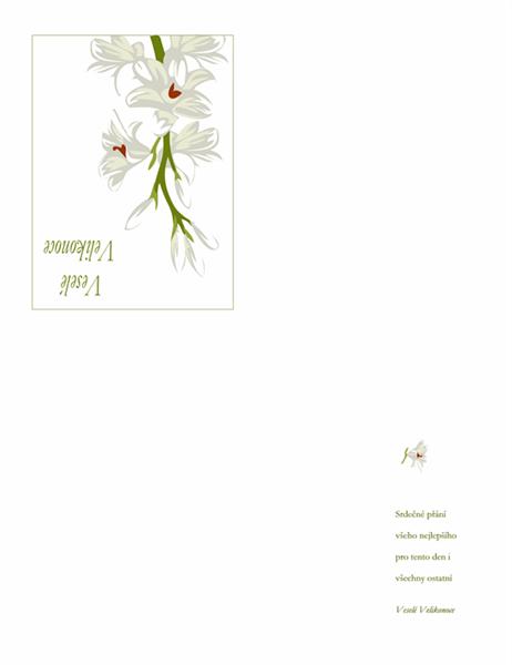 Blahopřání k Velikonočním svátkům (s květinami)