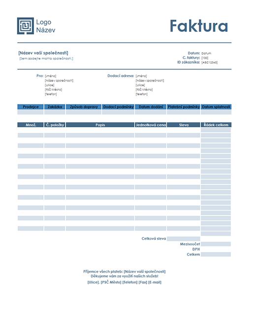 Prodejní faktura (jednoduchý modrý návrh)