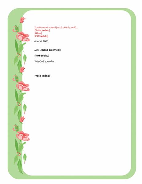 Šablona dopisu pro svátek sv. Valentýna