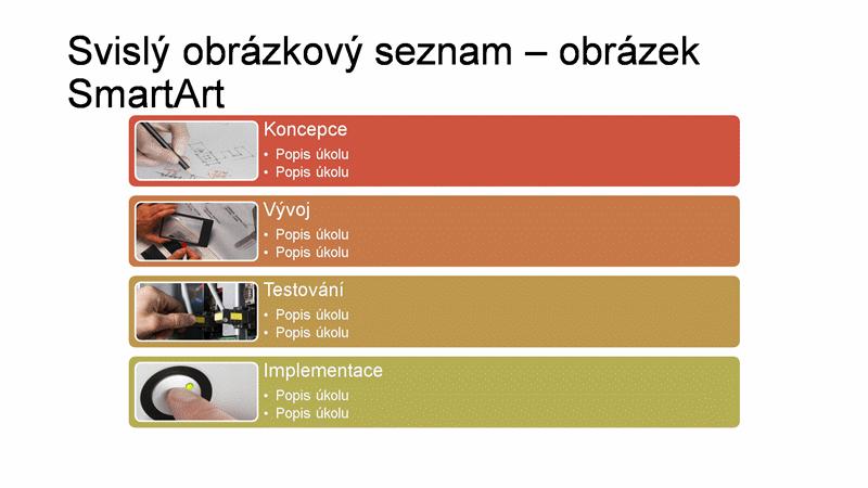 Snímek s obrázkem SmartArt svislého obrázkového seznamu (různé barvy na bílém pozadí), širokoúhlý