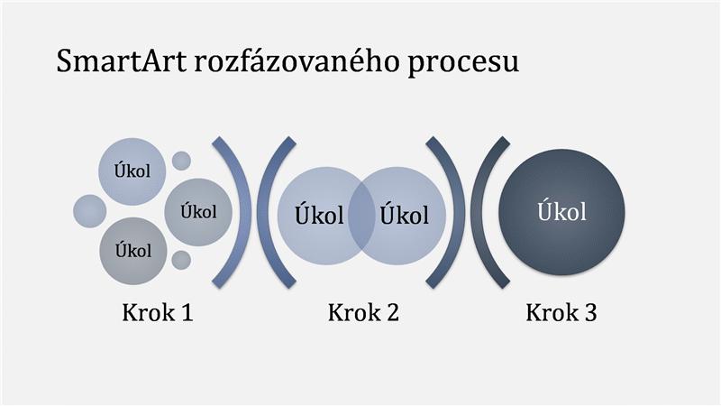 SmartArt rozfázovaného procesu (světle a tmavě modrý), širokoúhlý