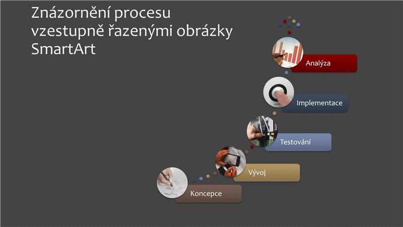 Znázornění procesu vzestupně řazenými obrázky SmartArt (vícebarevné nebo v šedé barvě), širokoúhlé
