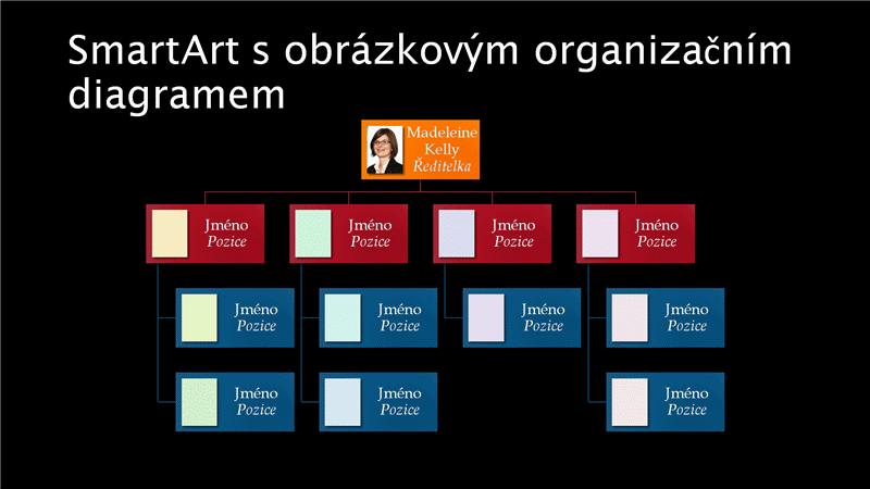 Širokoúhlý snímek s obrázkovým organizačním diagramem (barvy na černém pozadí)