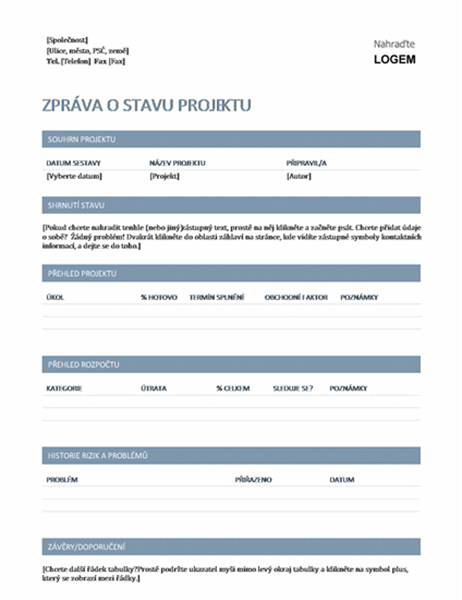 Zpráva o stavu projektu