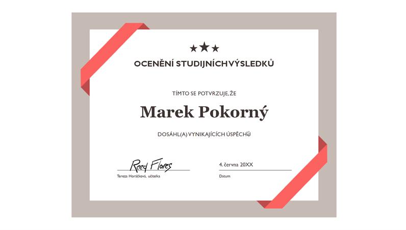 Certifikát o dosaženém vzdělání (formální modrý okraj)