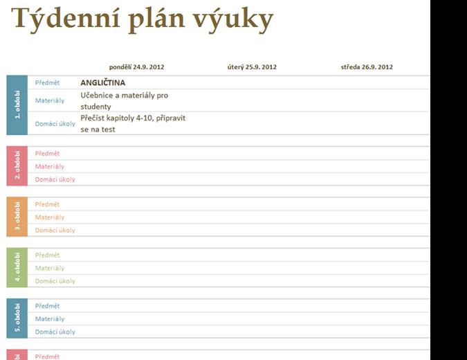Týdenní plán výuky pro školy
