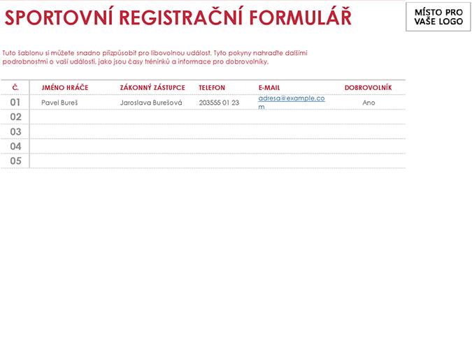 Sportovní registrační formulář
