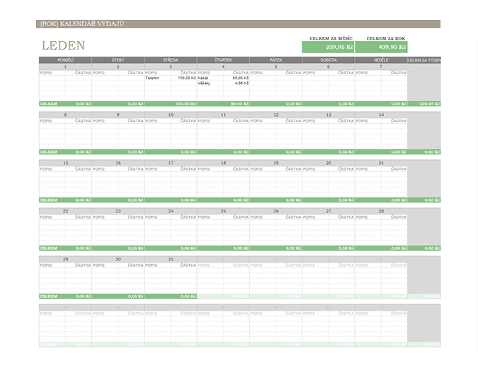 Kalendář výdajů na libovolný rok