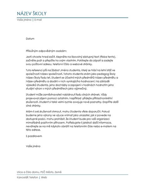 Dopis s referencí od učitele