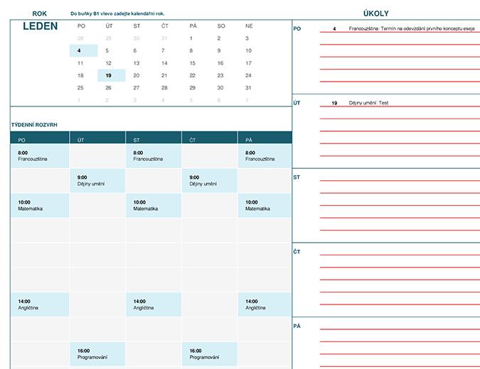 Studentský kalendář (začátek týdne v pondělí)