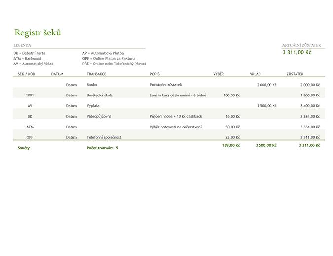 Registr šeků