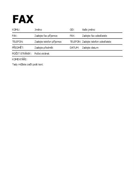 Titulní stránka faxu tučným písmem