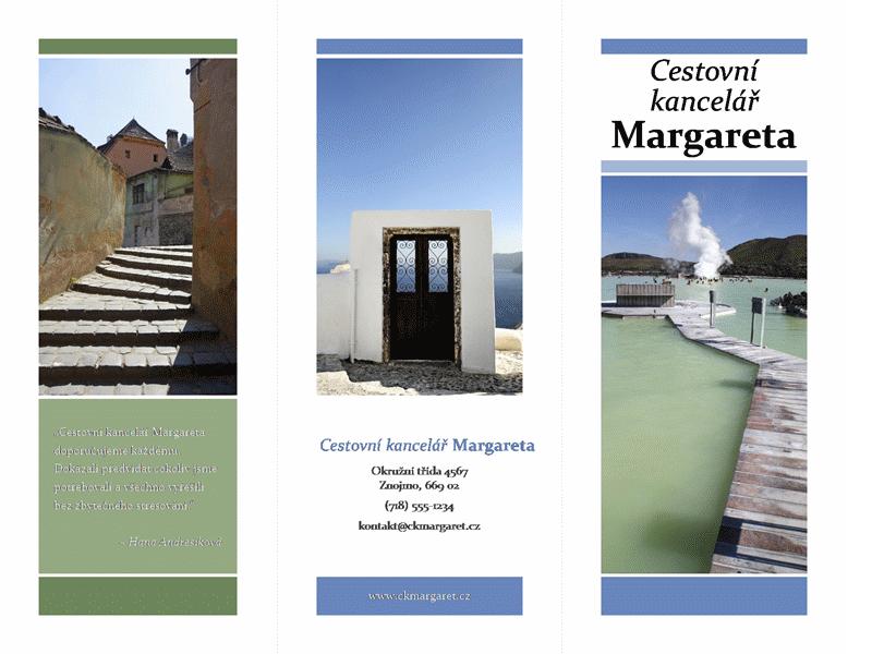 Cestovní brožura se dvěma přehyby (modrý a zelený design)