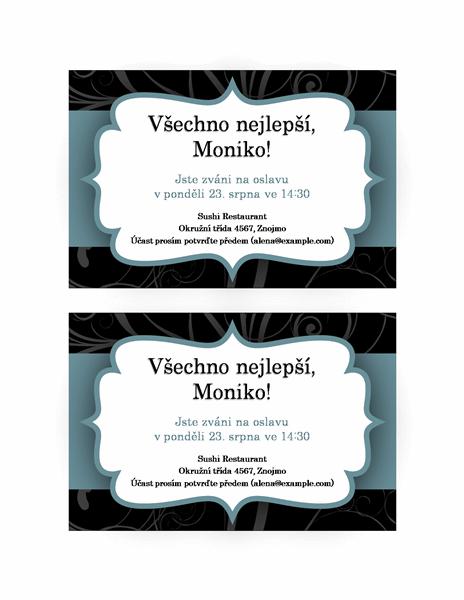 Pozvánka na večírek (design s modrou stuhou)