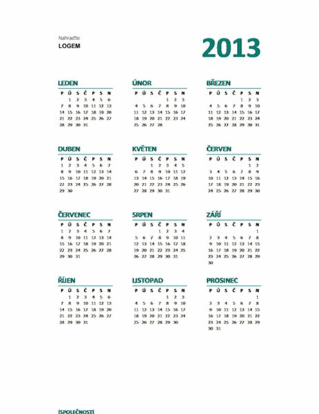 Přehledný kalendář na rok 2013 (formát Po–Ne)