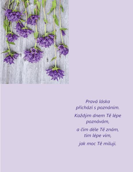Valentýnské přání s poetickým textem (s přeložením na čtvrtiny)