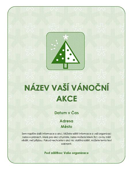 Leták o vánoční akci (se zeleným stromem)