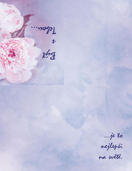 Milostné přání (s růží a s přeložením na čtvrtiny)